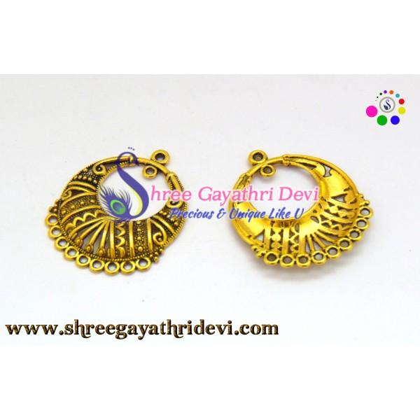 CHANDLIER EARRINGS - ANTIQUE GOLD - 32*27MM