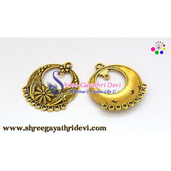 CHANDLIER EARRINGS - ANTIQUE GOLD - 36*33MM