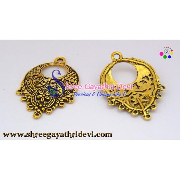 CHANDLIER EARRINGS - ANTIQUE GOLD - 43*28MM