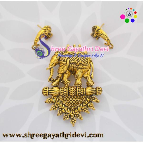 TEMPLE PENDANT -  BAHUBALI - ANTIQUE GOLD - 65*50MM